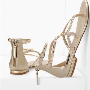 WHBM Embellished Elina Gold Criss Cross Sandals 10
